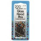 Glass Head Pns 35mm long .5mm Multi colour 200 Ct