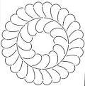 Quilt Stencil Feather Circle 8in
