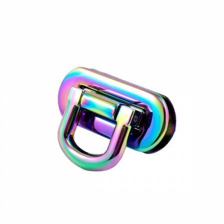 Oval Flip Lock Iridescent Rainbow