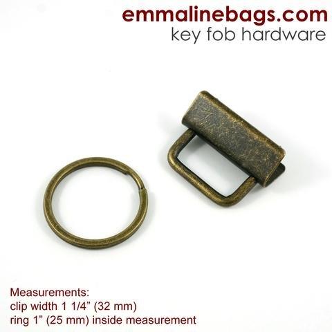 Key Fob Hardware Antique Brass 5 pc