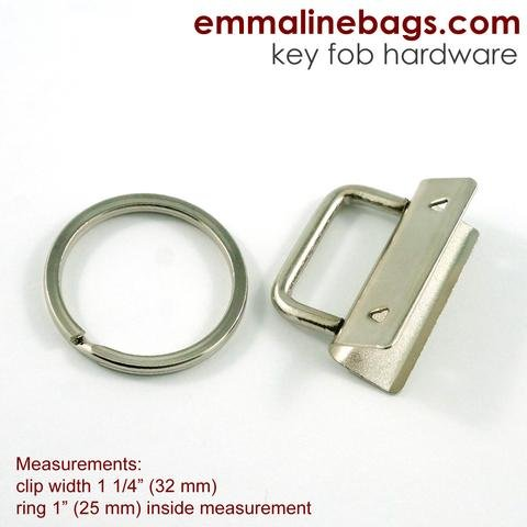 Key Fob Hardware Nickel 5 pc