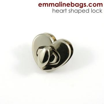 Heart Shaped  Bag Lock 38mm  Nickel