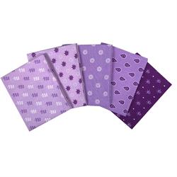 Essential Trend Fat Quarters 5 pc Purple