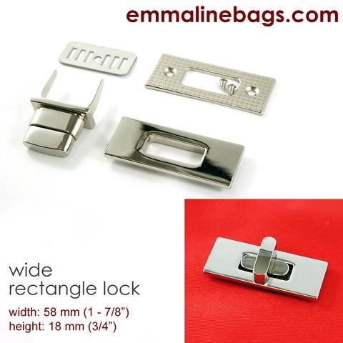 Retangular Bag Lock 38mm  Nickel