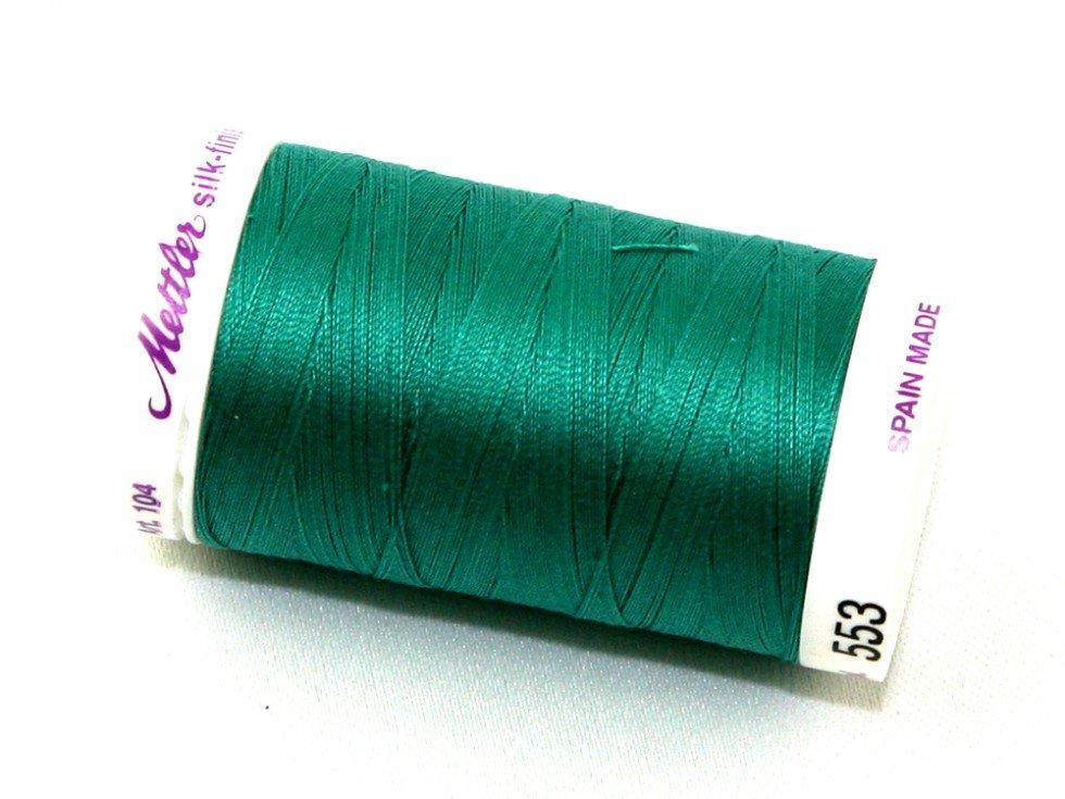 Mettler Silk-Finish 50wt Cotton Thread #553 Green 547yds