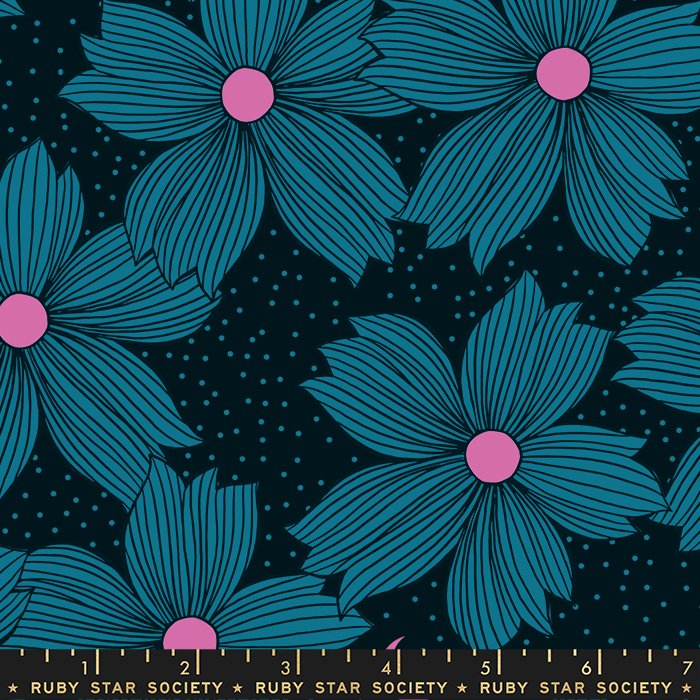 Crescent Teal Flowers