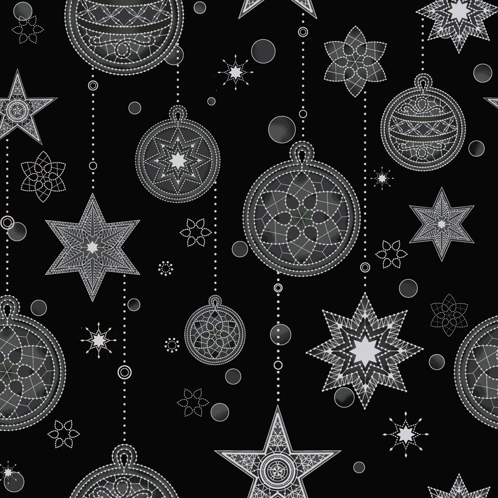 Amazing Stars metallic Ornaments on blk