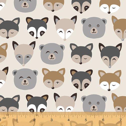 Cubby Bear Cream Flannel Animal Faces