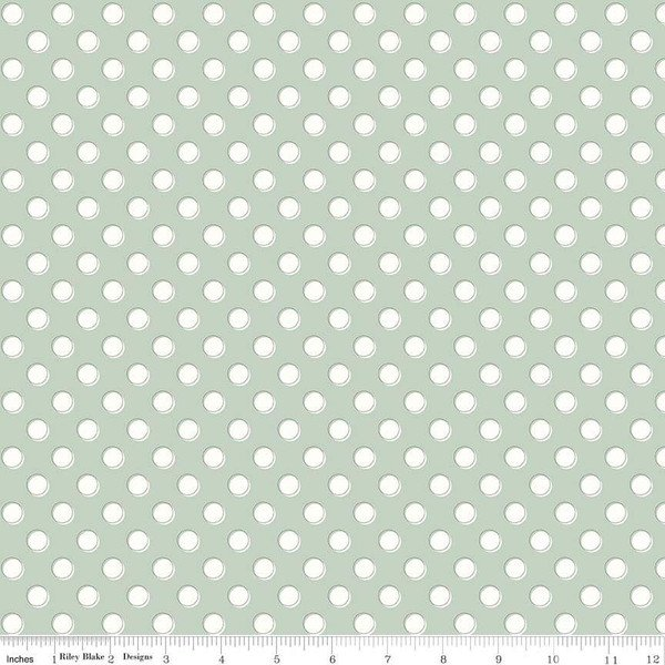 Bliss - White Dots on Sage