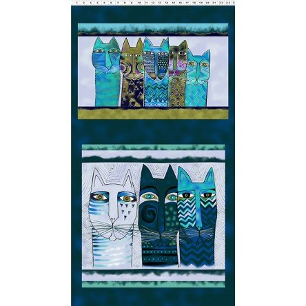Teal Feline Frolic Pillow Panel 24 x 44in w/Metallic