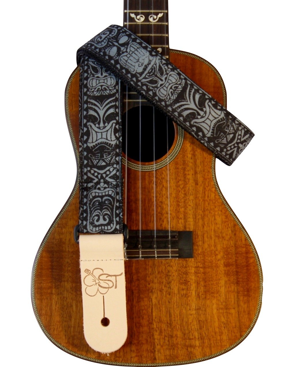 Sherrin's Threads 1.5 Hawaiian Print Ukulele Strap - Black Tiki