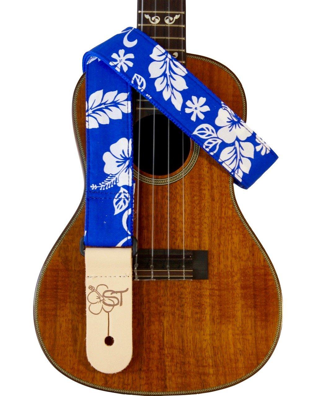 Sherrin's Threads 1.5 Hawaiian Print Ukulele Strap - Blue Hibiscus