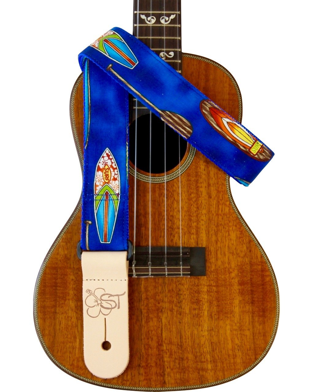 Sherrin's Threads 1.5 Hawaiian Print Ukulele Strap - Blue Surfboard