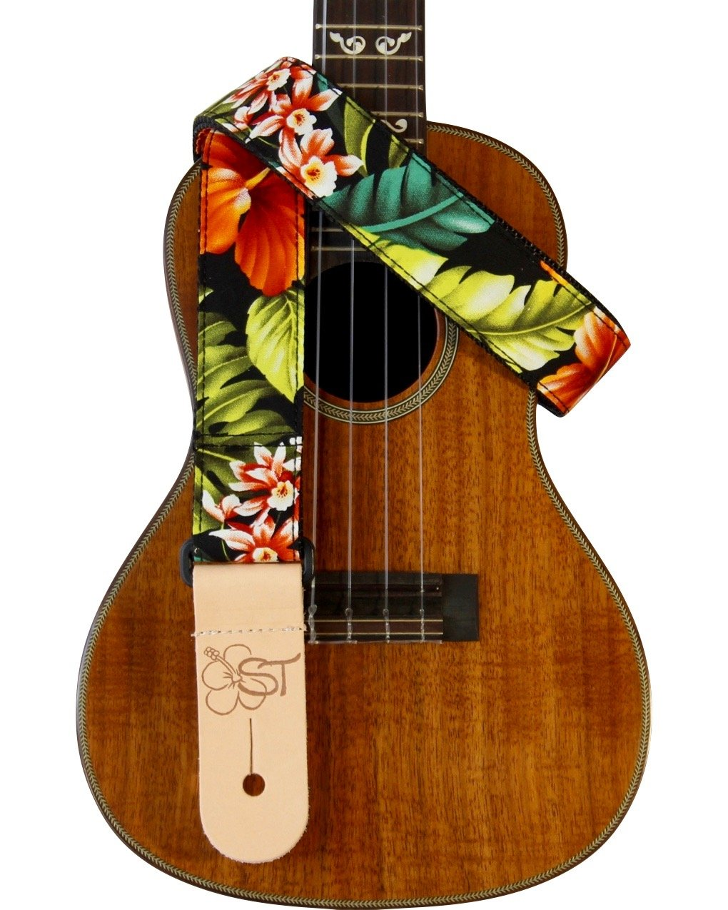 ST 1.5 Hawaiian Print Ukulele Strap - Bird of Paradise