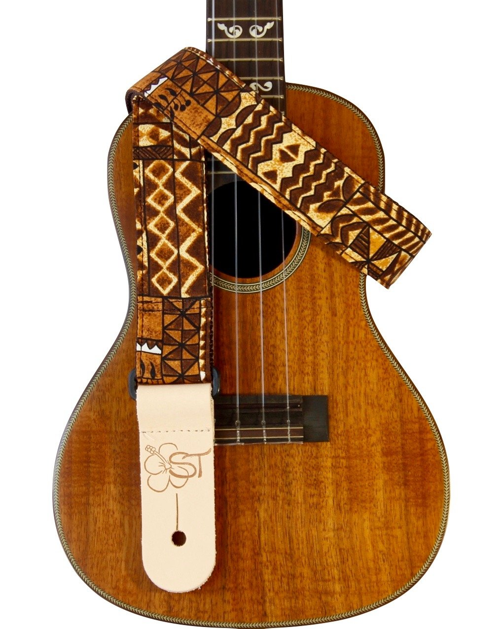 Sherrin's Threads 1.5 Hawaiian Print Ukulele Strap - Brown Tapa