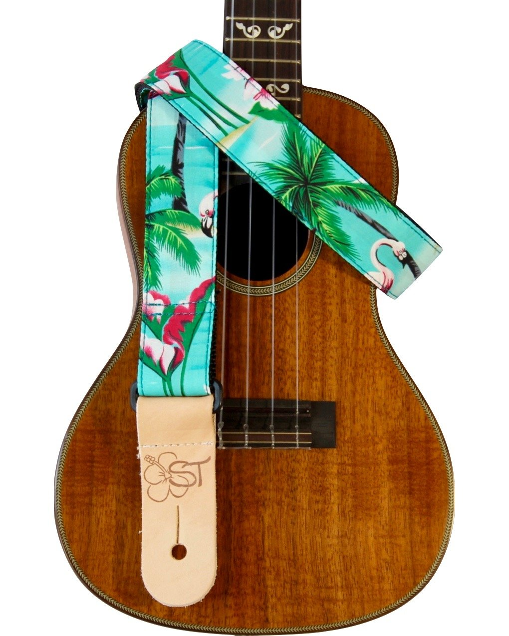 Sherrin's Threads 1.5 Hawaiian Print Ukulele Strap - Flamingo