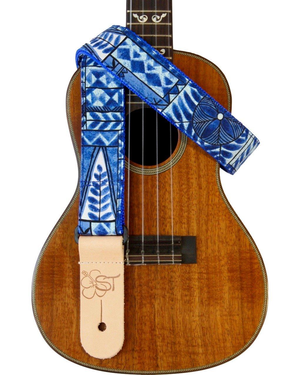 Sherrin's Threads 1.5 Hawaiian Print Ukulele Strap - Ocean Tapa