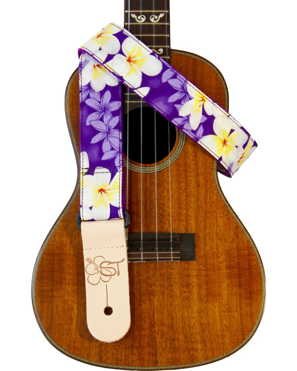 Sherrin's Threads 1.5 Hawaiian Print Ukulele Strap - Purple Plumeria