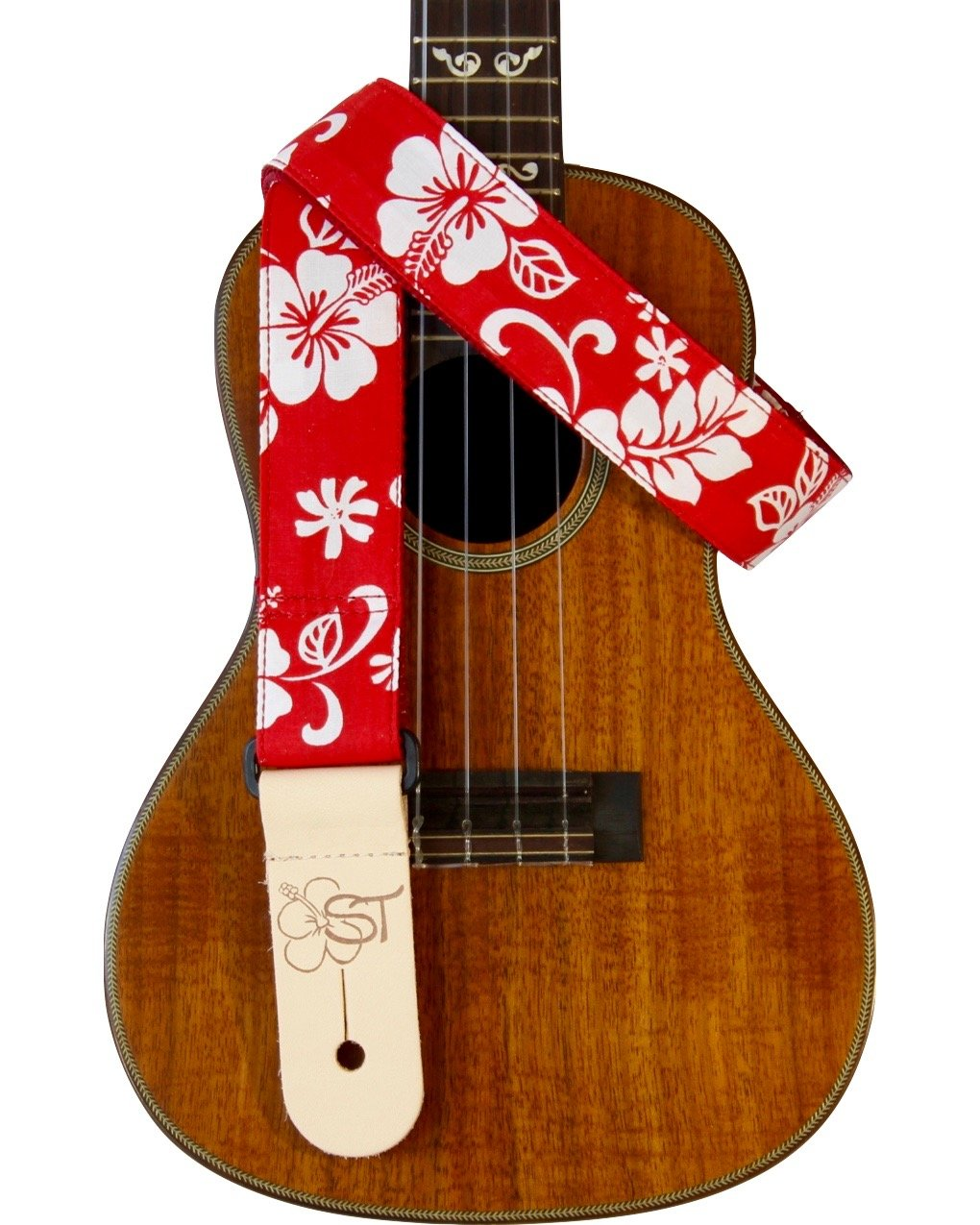 Sherrin's Threads 1.5 Hawaiian Print Ukulele Strap - Red Hibiscus