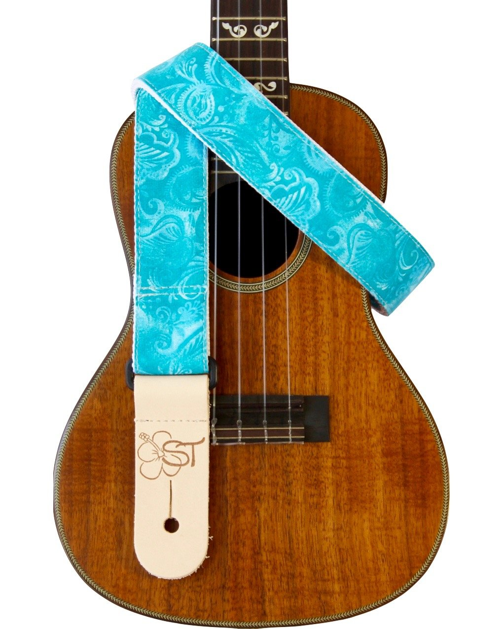 Sherrin's Threads 1.5 Hawaiian Print Ukulele Strap - Turquoise Floral