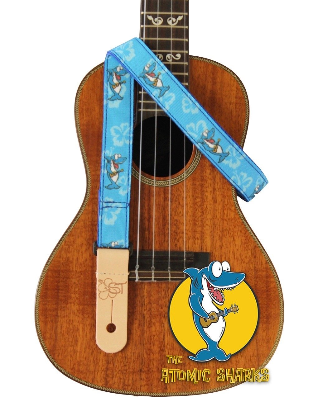 ST 1 Atomic Sharks Ukulele Strap - Blue