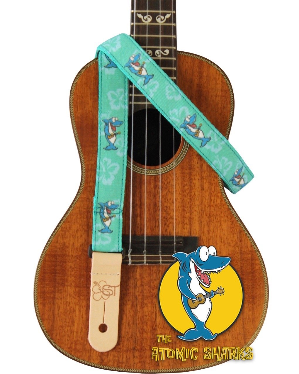 Sherrin's Threads 1 Atomic Sharks Ukulele Strap - Teal