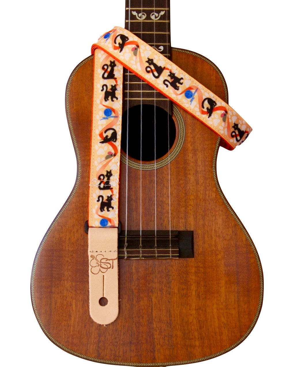 Sherrin's Threads 1 Ukulele Strap - Cats on Orange