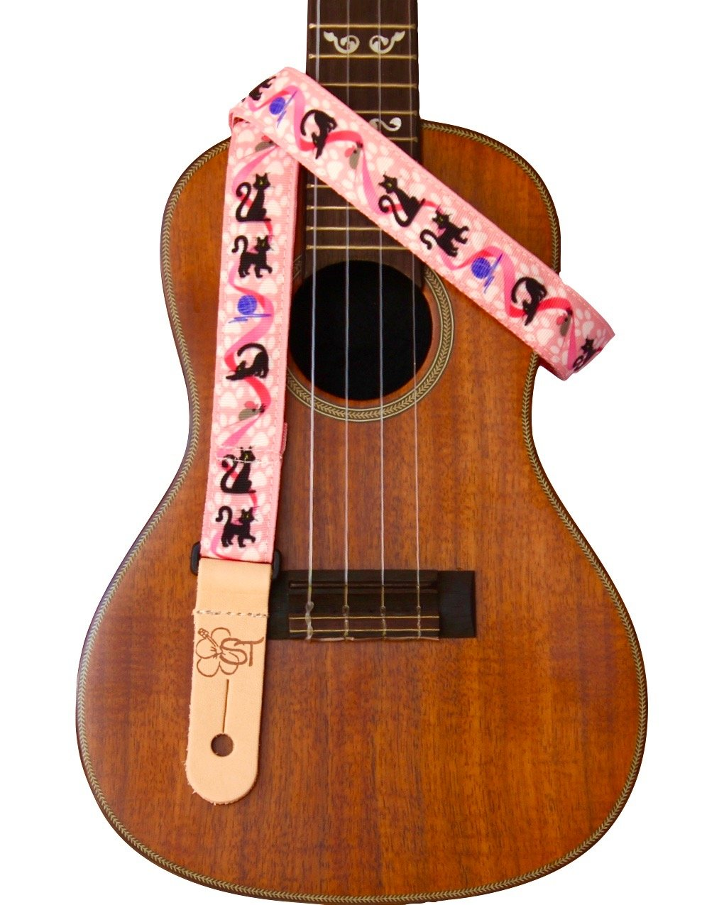 Sherrin's Threads 1 Ukulele Strap - Cats on Pink