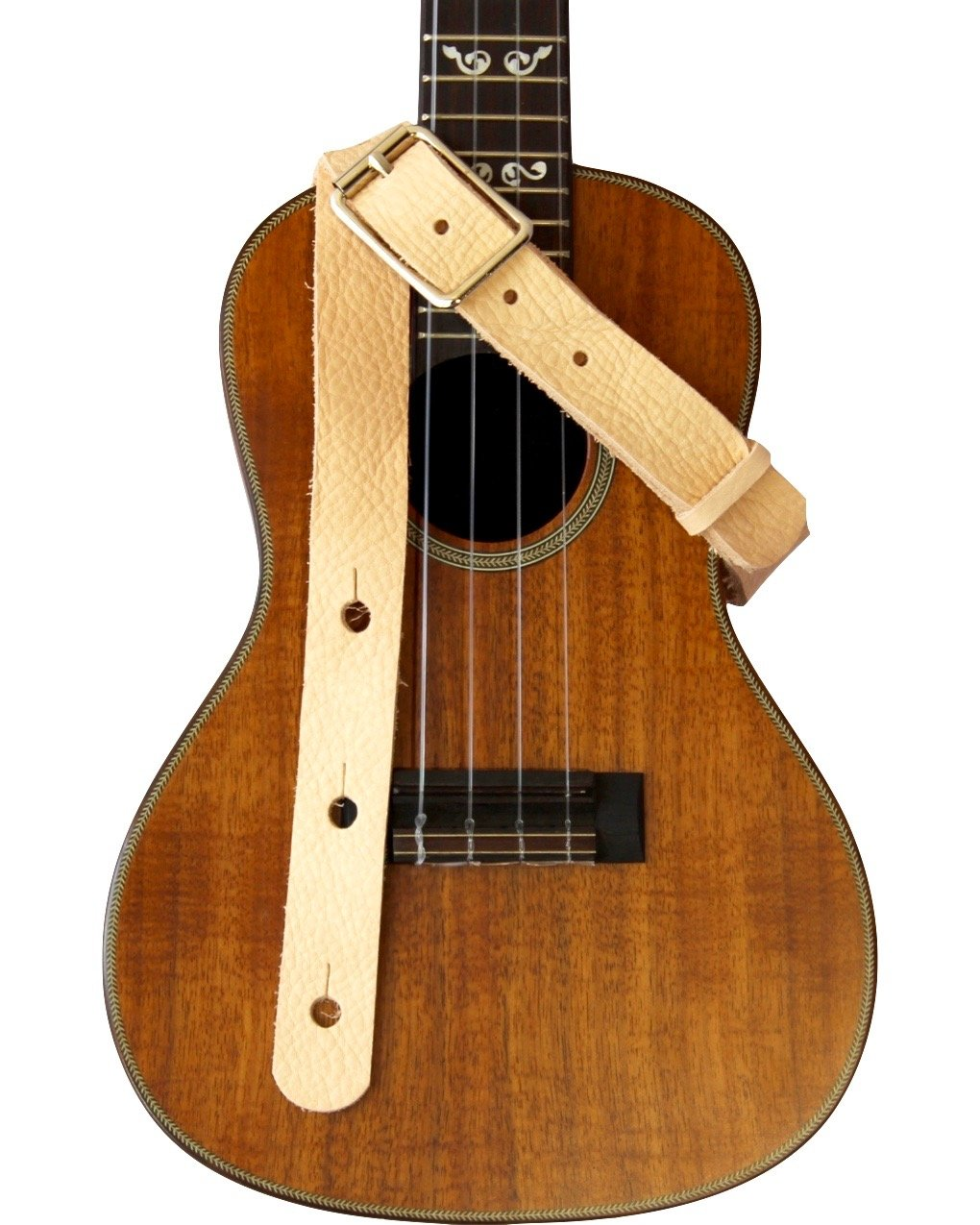 ST 1 All Leather Ukulele Strap - Natural