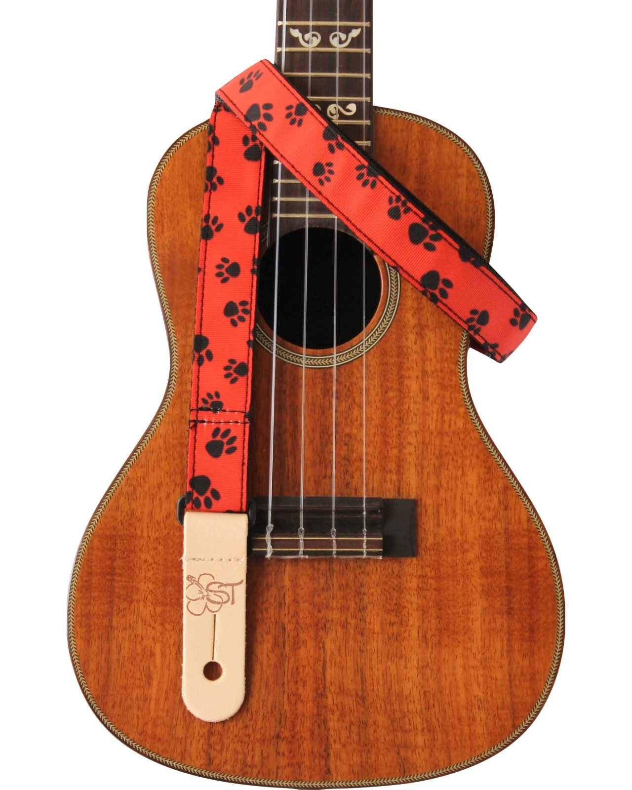 ST 1 Ukulele Strap - Paw Prints on Red