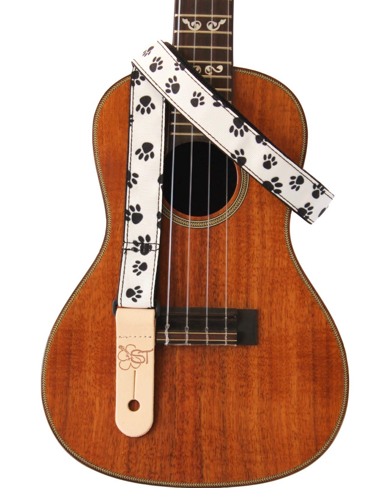 ST 1 Ukulele Strap - Paw Prints on White