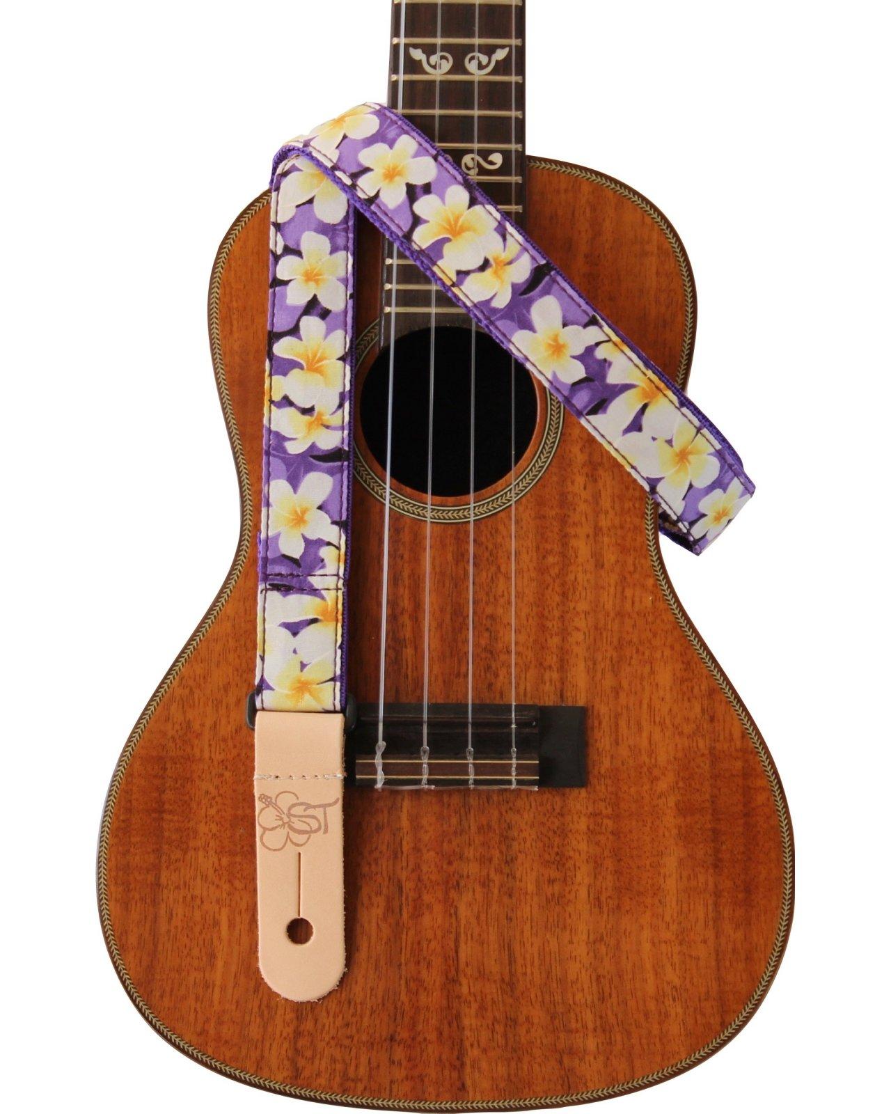 Sherrin's Threads 1 Hawaiian Print Ukulele Strap - Purple Plumeria