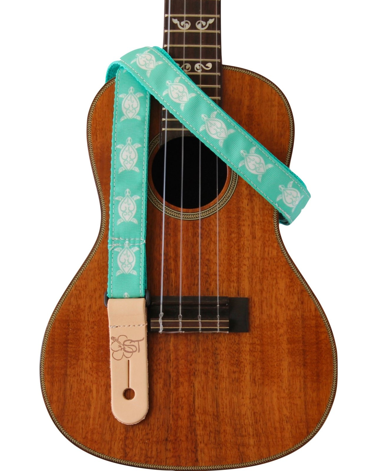 Sherrin's Threads 1 Hawaiian Print Ukulele Strap - Teal Turtle