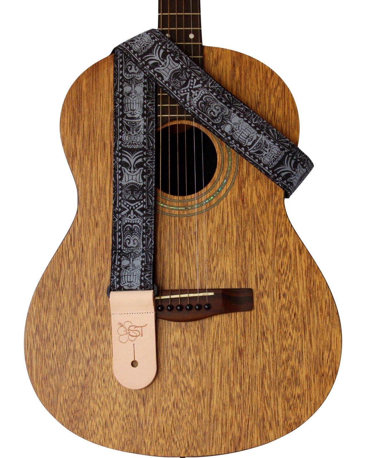ST 2 Hawaiian Print Guitar Strap - Black Tiki
