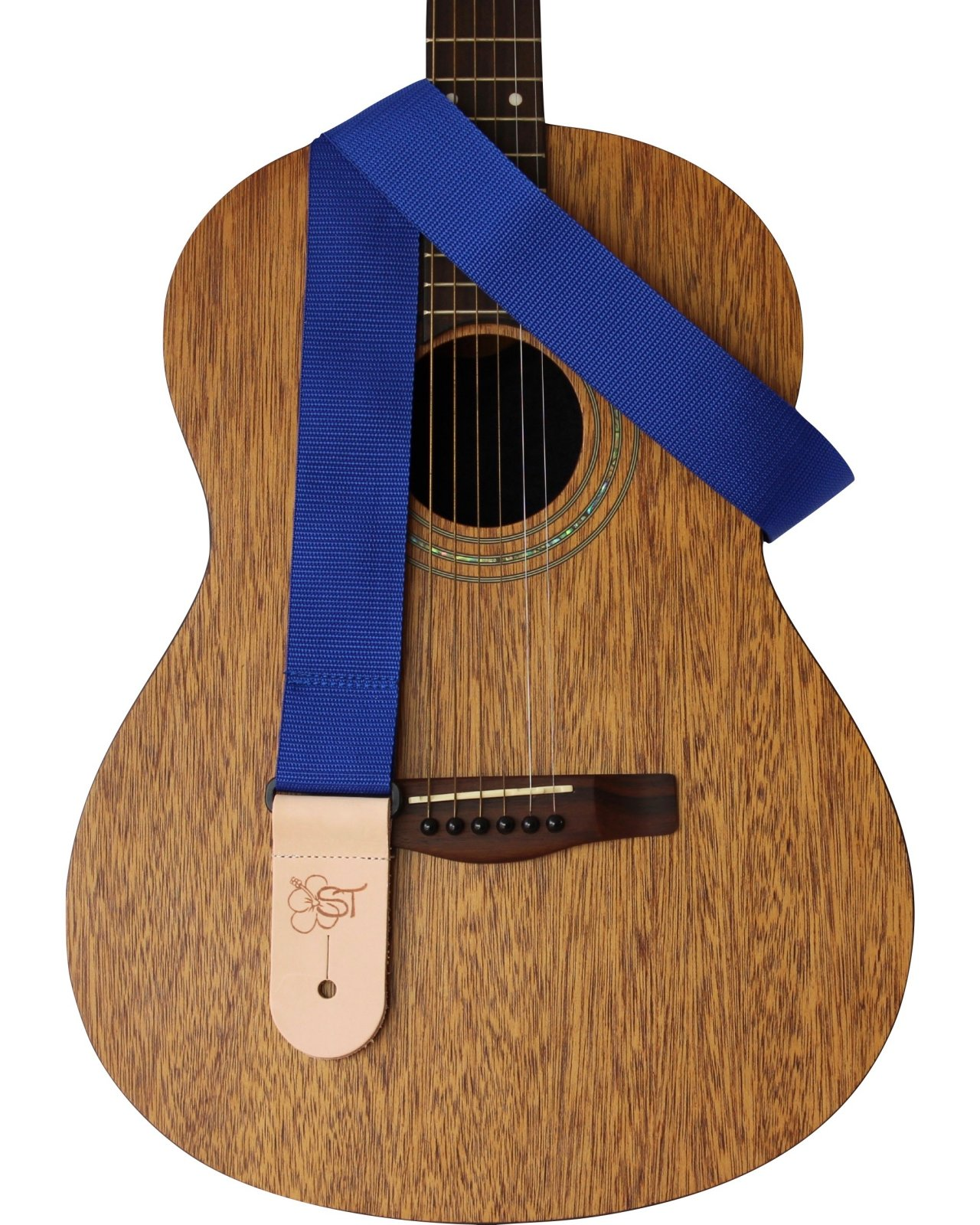 Sherrin's Threads 2 Guitar Strap w/Leather Ends - Blue - Made in USA