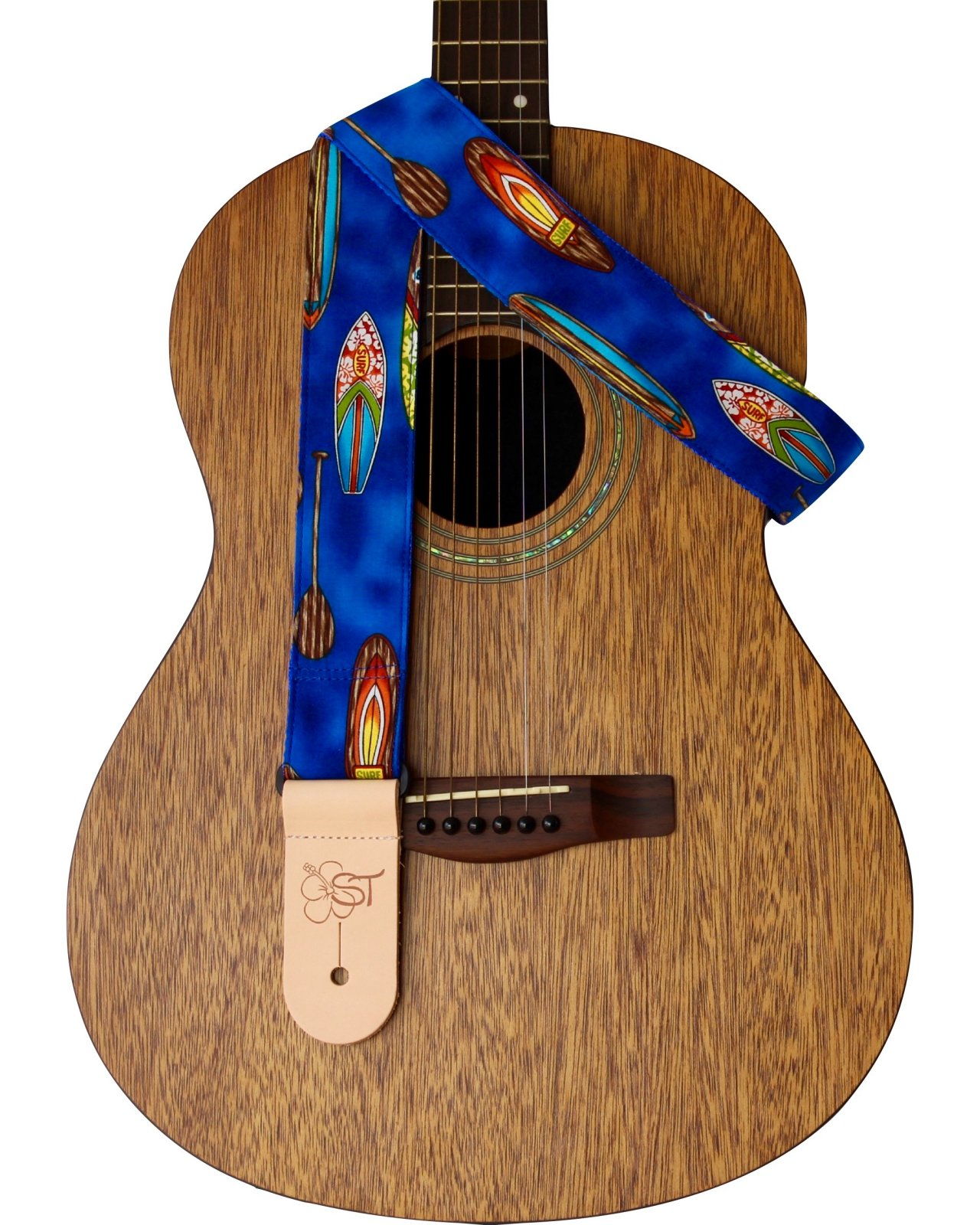 ST 2 Hawaiian Print Guitar Strap - Blue Surfboard