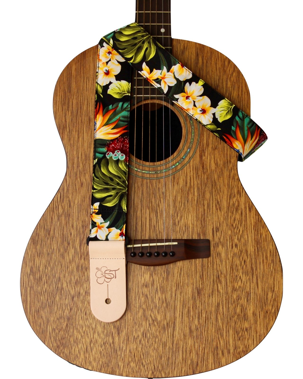 Sherrin's Threads 2 Hawaiian Print Guitar Strap - Bird of Paradise
