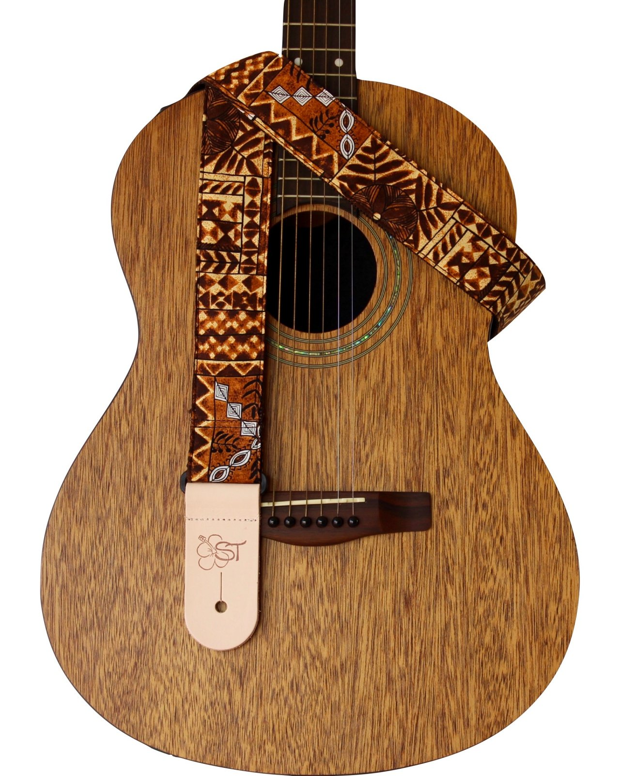Sherrin's Threads 2 Hawaiian Print Guitar Strap - Brown Tapa