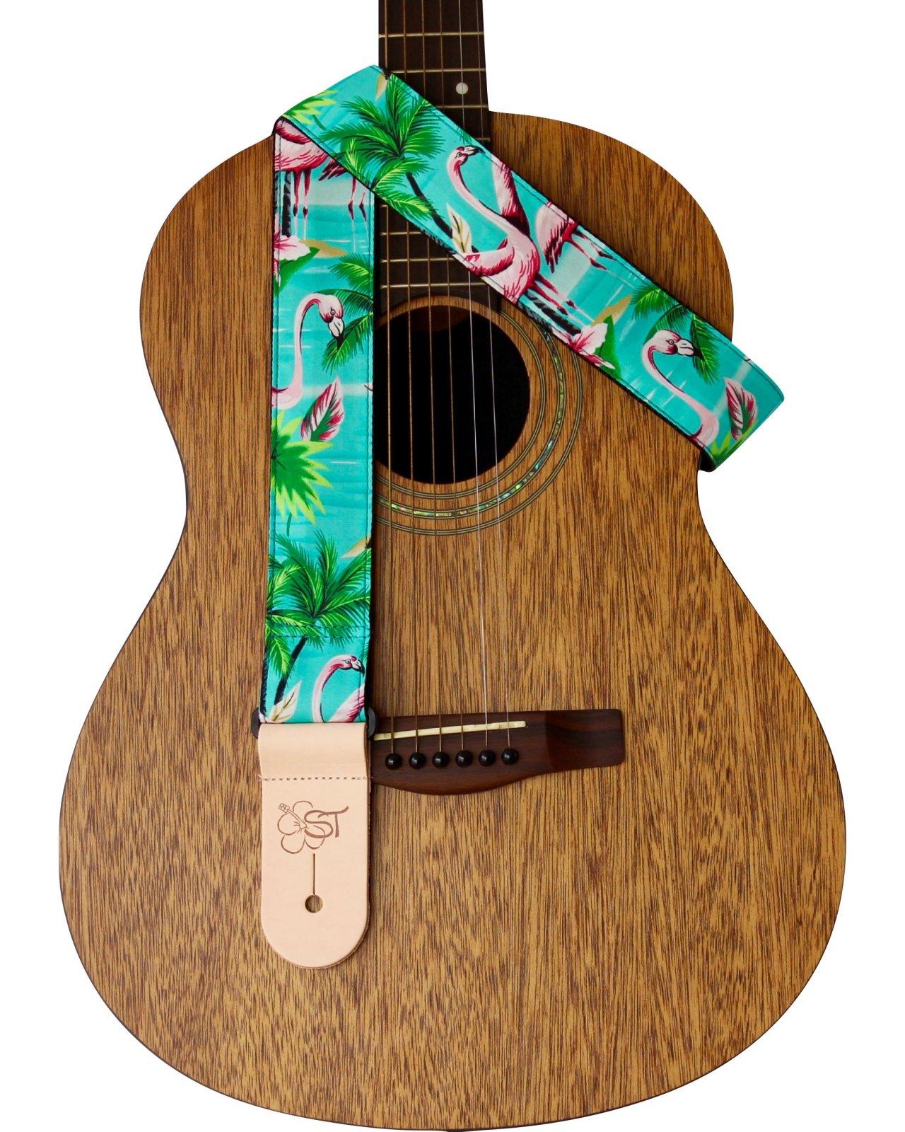 ST 2 Hawaiian Print Guitar Strap - Flamingo