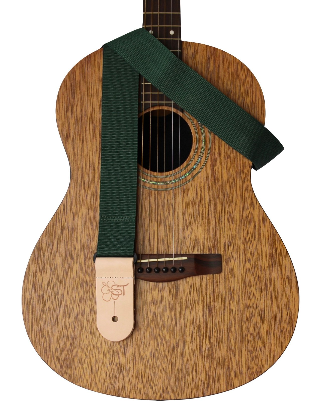 Sherrin's Threads 2 Guitar Strap w/Leather Ends - Green - Made in USA