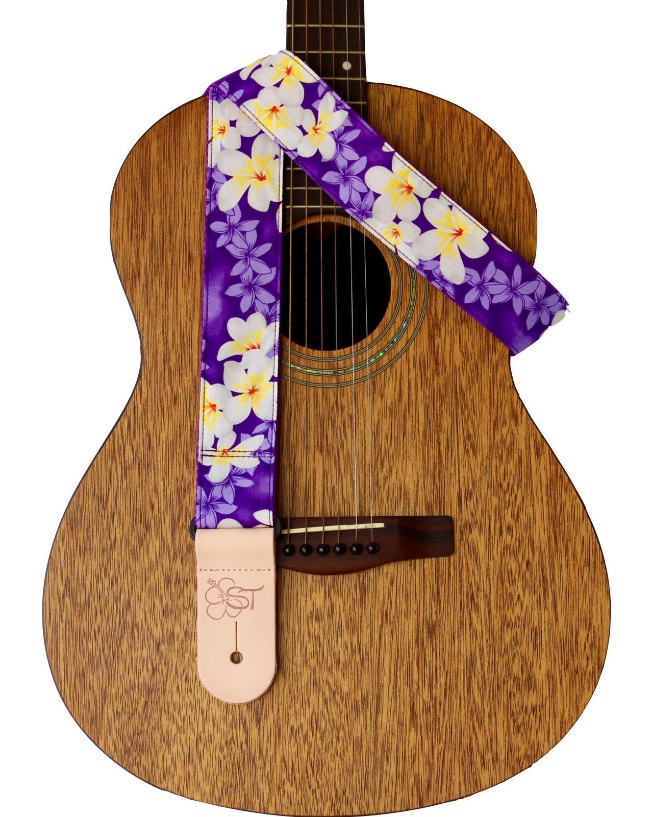 Sherrin's Threads 2 Hawaiian Print Guitar Strap - Purple Plumeria