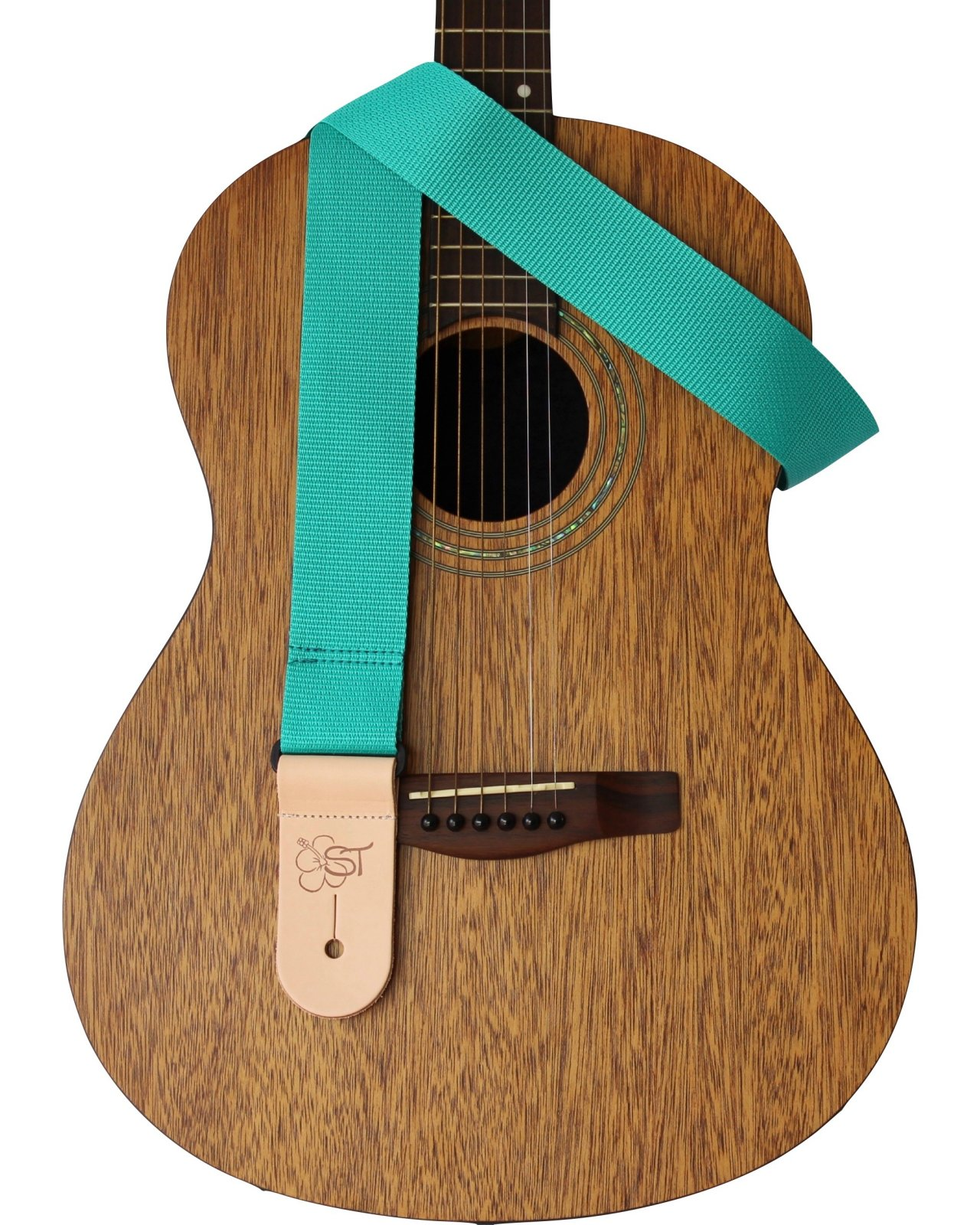 Sherrin's Threads 2 Guitar Strap w/Leather Ends - Teal - Made in USA