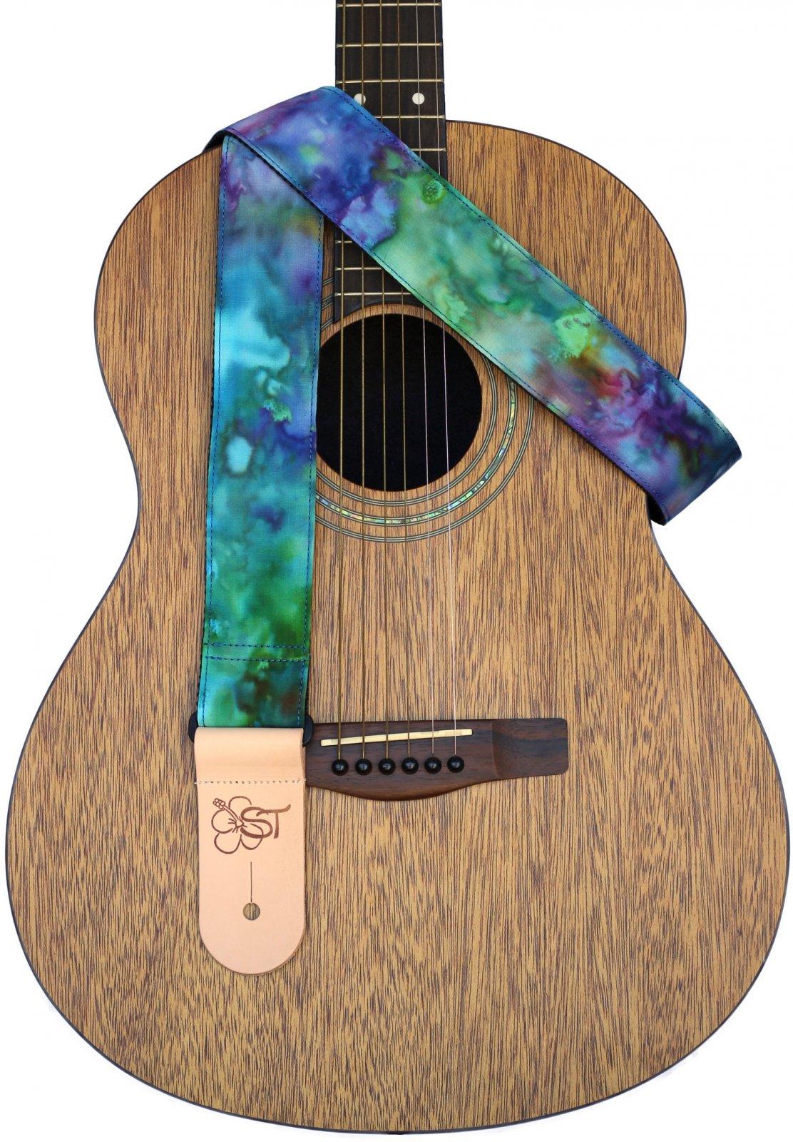 Sherrin's Threads 2 Premium Print Guitar Strap - Blue Tie-Dye