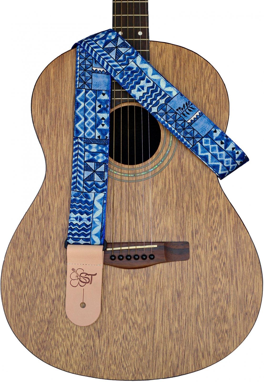 Sherrin's Threads 2 Hawaiian Print Guitar Strap - Ocean Tapa