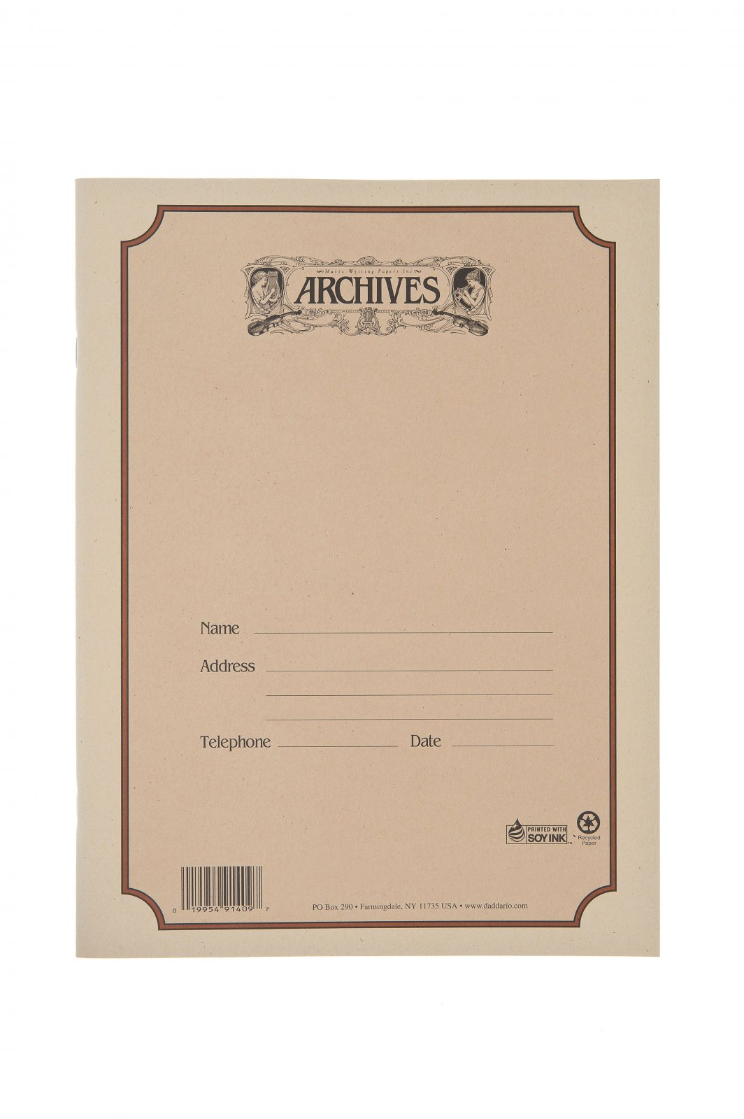 Archives Spiral-Bound Manuscript Paper Book 12 Staves 48 Pages