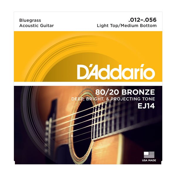D'Addario EJ14 80/20 Bronze Guitar Strings Bluegrass .012-.056