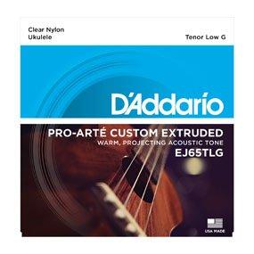 D'Addario EJ65TLG Custom Extruded Clear Nylon Tenor Ukulele Strings Low G