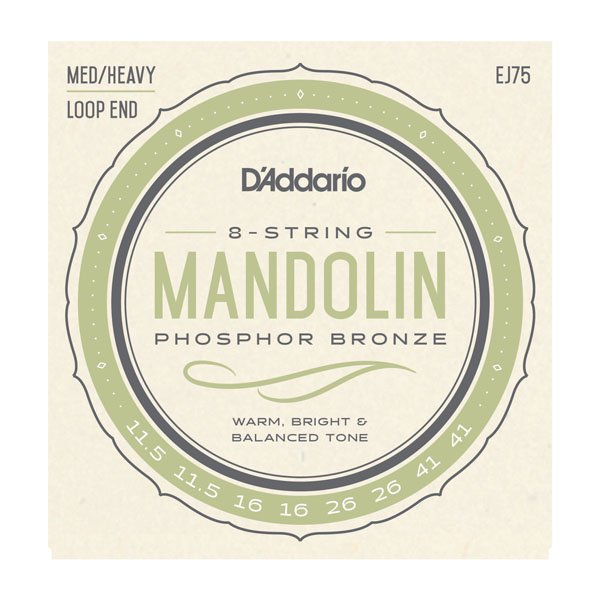 D'Addario EJ75 Phosophor Bronze Mandolin Strings - Medium/Heavy .0115-.041