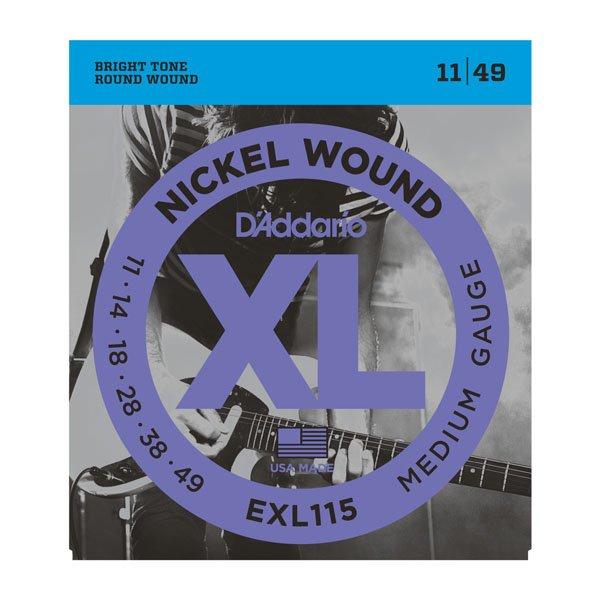 D'Addario EXL115 Nickel Wound Electric Guitar Strings - Medium/Blues-Jazz Rock, 11-49