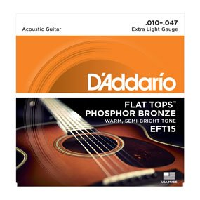 D'Addario EFT15 Flat Tops Acoustic Guitar Strings Extra-Light .010-.047